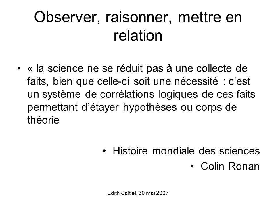 Observer, raisonner, mettre en relation