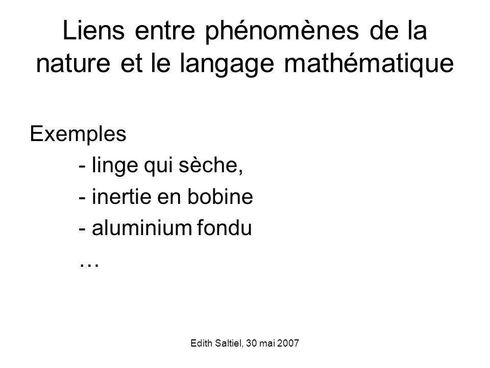 Liens entre phénomènes de la nature et le langage mathématique