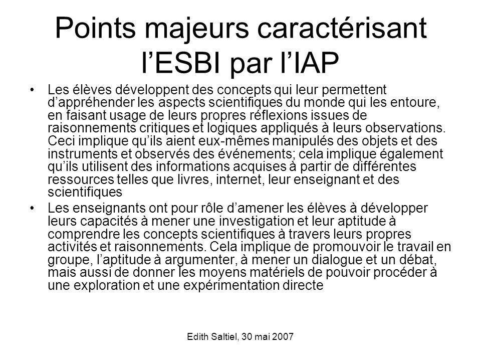 Points majeurs caractérisant l'ESBI par l'IAP