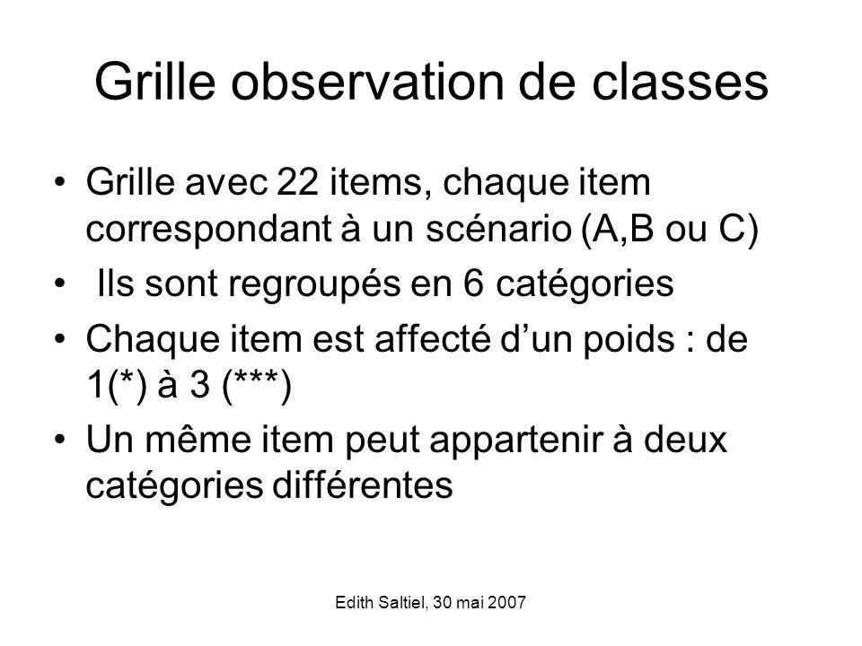 Grille observation de classes