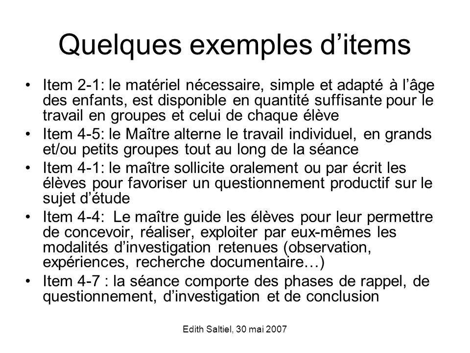 Quelques exemples d'items