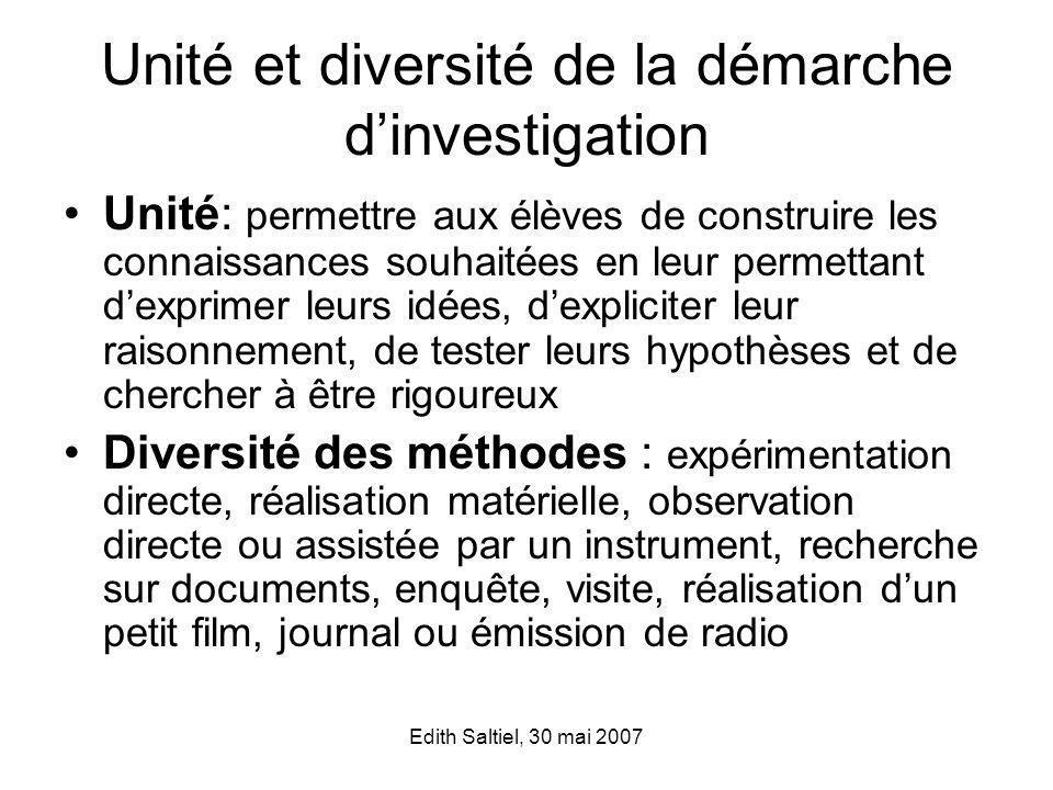 Unité et diversité de la démarche d'investigation