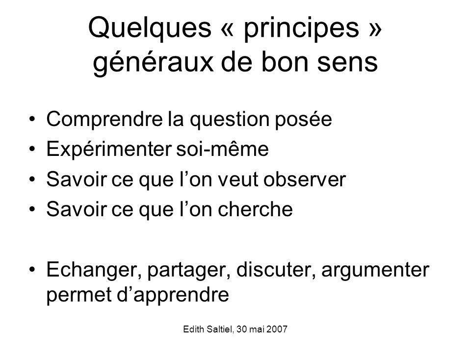 Quelques « principes » généraux de bon sens