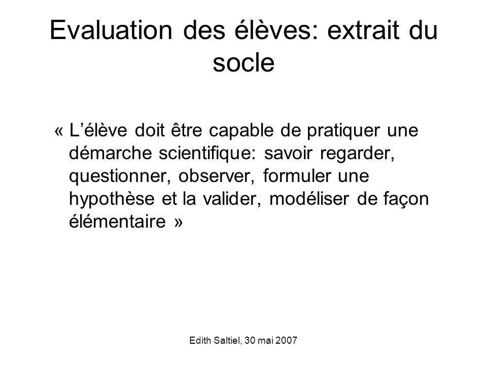 Evaluation des élèves: extrait du socle