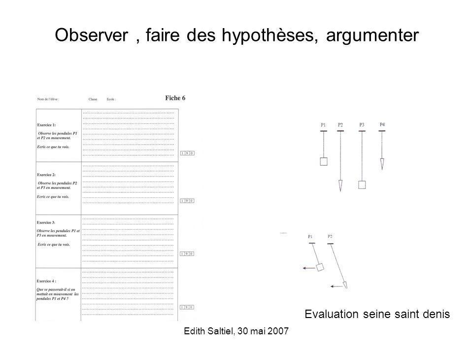 Observer , faire des hypothèses, argumenter