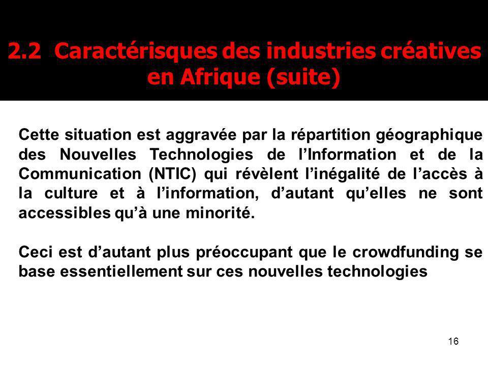 2.2 Caractérisques des industries créatives en Afrique (suite)