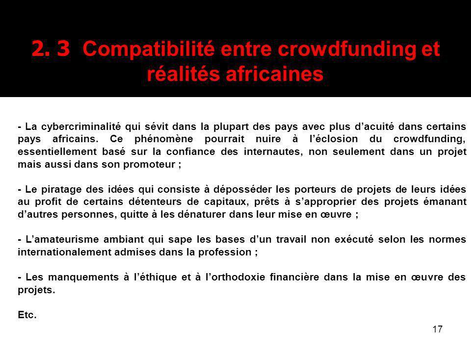 2. 3 Compatibilité entre crowdfunding et réalités africaines