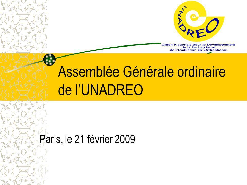 Assemblée Générale ordinaire de l'UNADREO