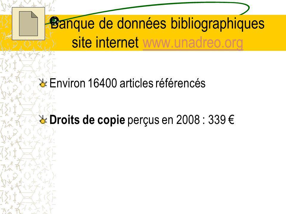 Banque de données bibliographiques site internet www.unadreo.org
