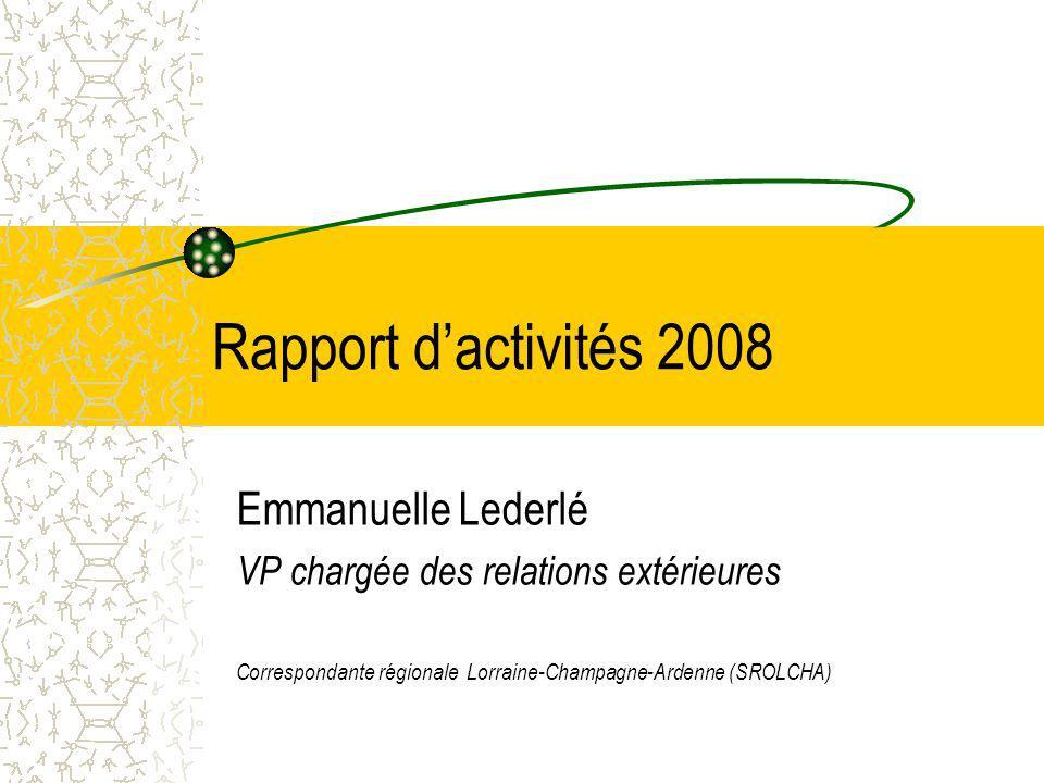 Rapport d'activités 2008 Emmanuelle Lederlé