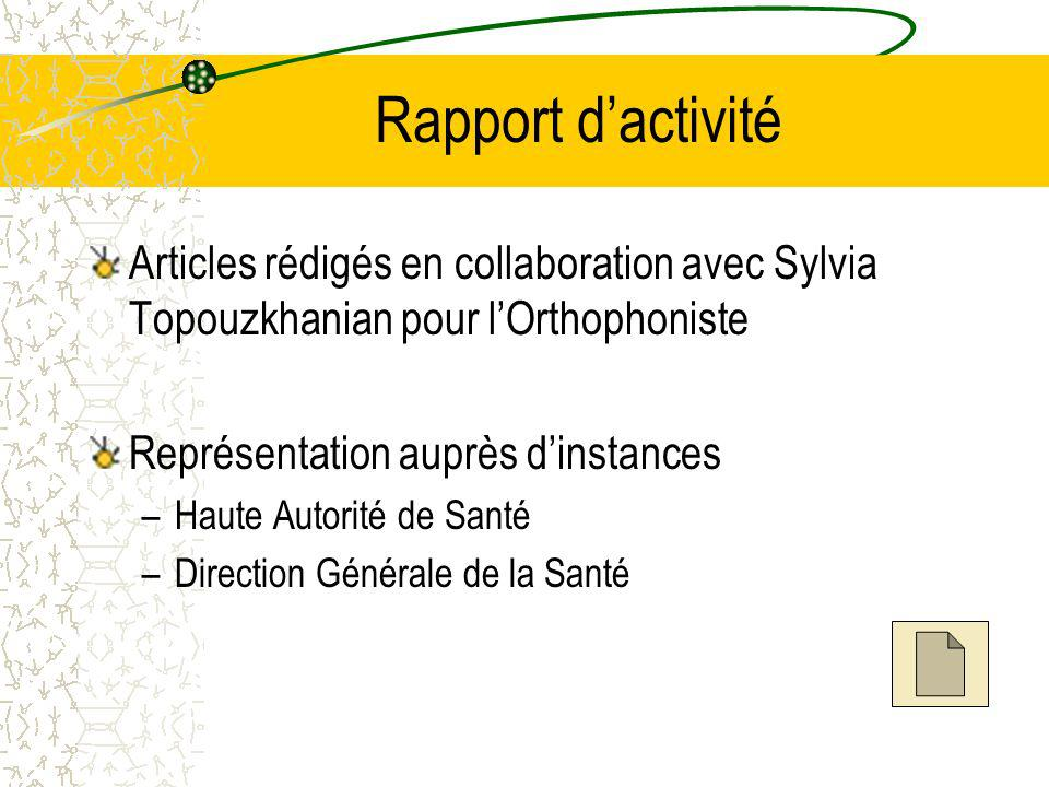 Rapport d'activité Articles rédigés en collaboration avec Sylvia Topouzkhanian pour l'Orthophoniste.