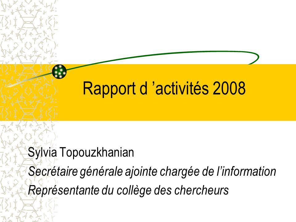 Rapport d 'activités 2008 Sylvia Topouzkhanian