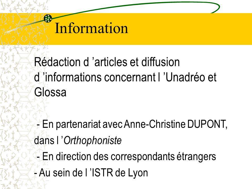 Information Rédaction d 'articles et diffusion