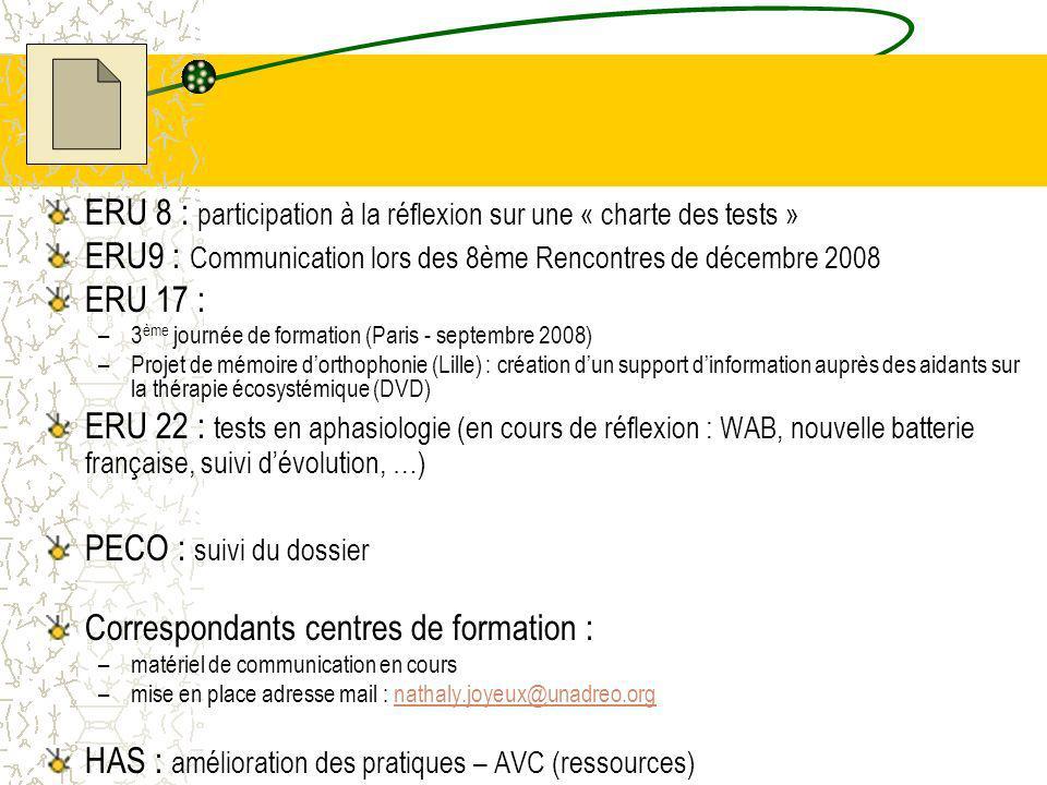 ERU 8 : participation à la réflexion sur une « charte des tests »