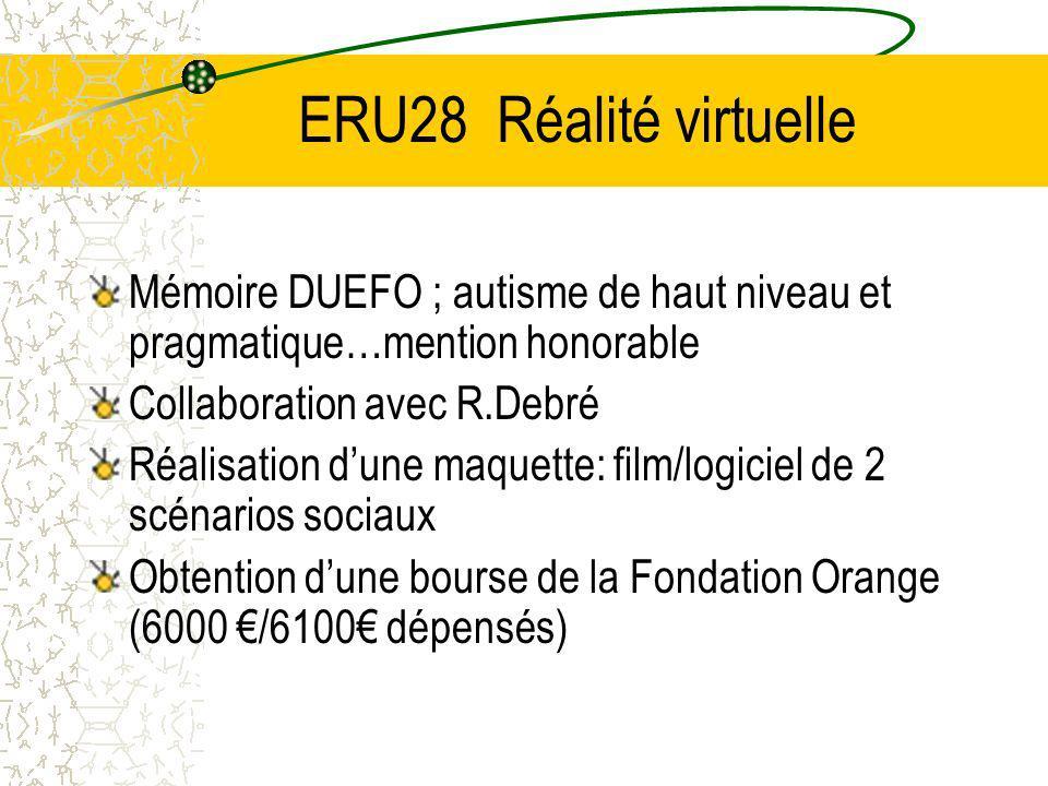 ERU28 Réalité virtuelle Mémoire DUEFO ; autisme de haut niveau et pragmatique…mention honorable. Collaboration avec R.Debré.