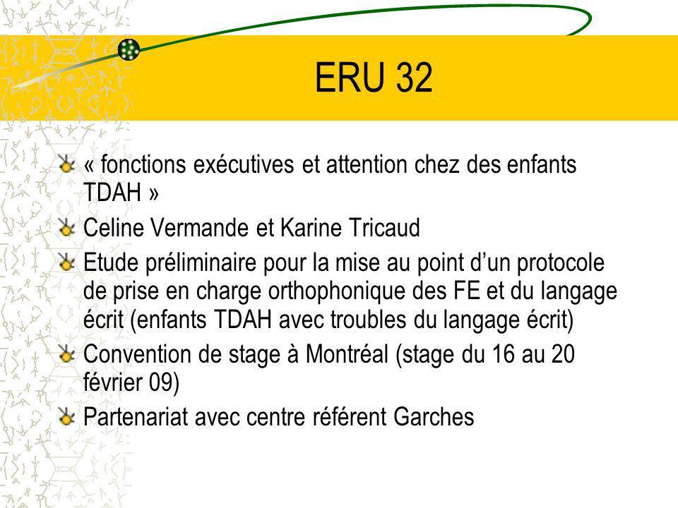 ERU 32 « fonctions exécutives et attention chez des enfants TDAH »