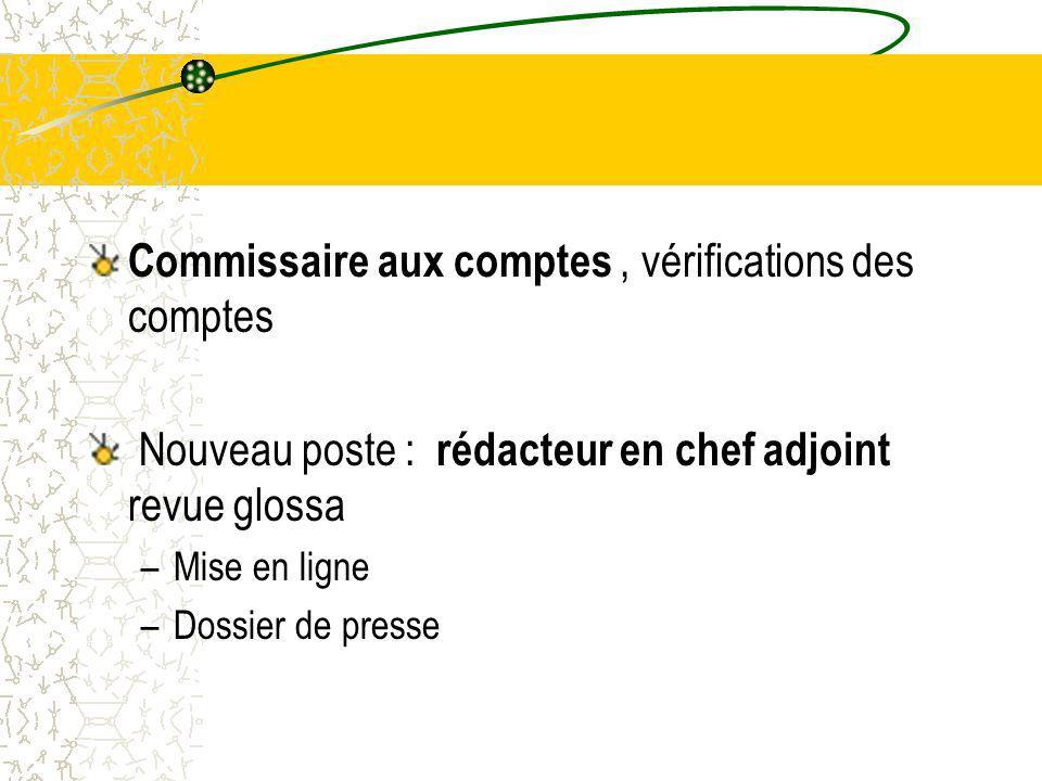 Commissaire aux comptes , vérifications des comptes