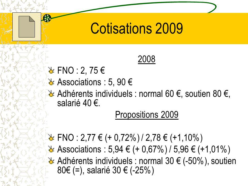 Cotisations 2009 2008 FNO : 2, 75 € Associations : 5, 90 €