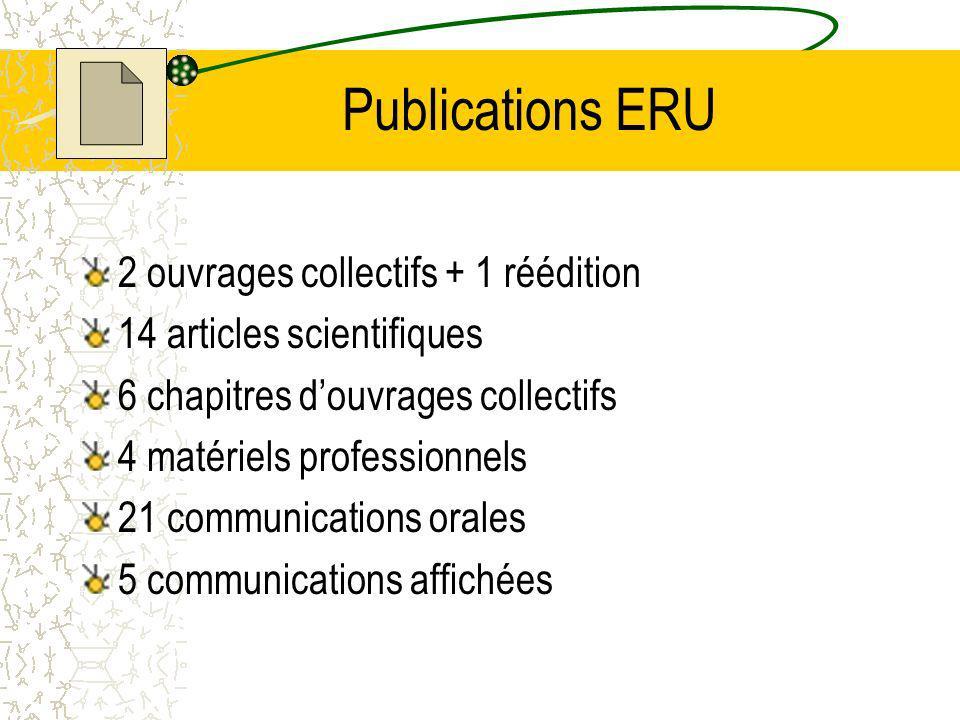 Publications ERU 2 ouvrages collectifs + 1 réédition