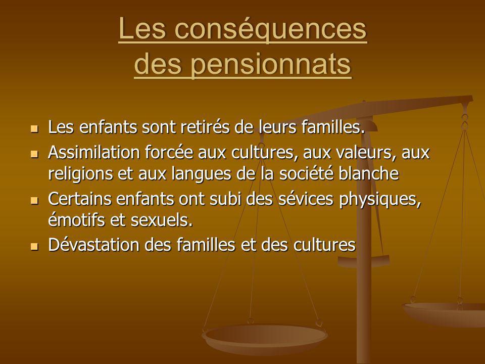 Les conséquences des pensionnats
