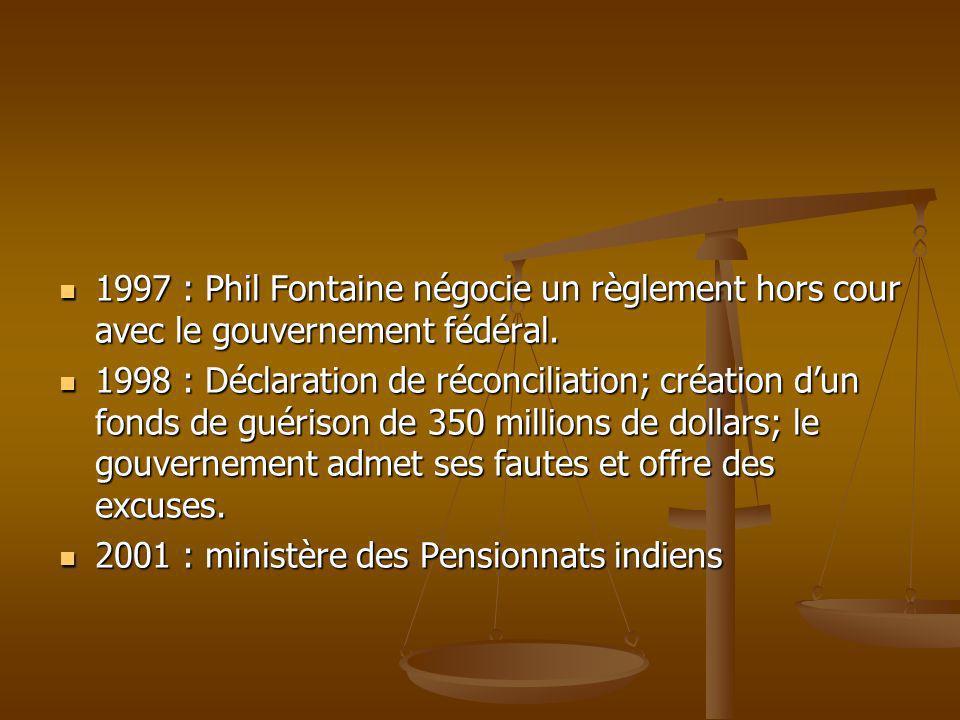 1997 : Phil Fontaine négocie un règlement hors cour avec le gouvernement fédéral.