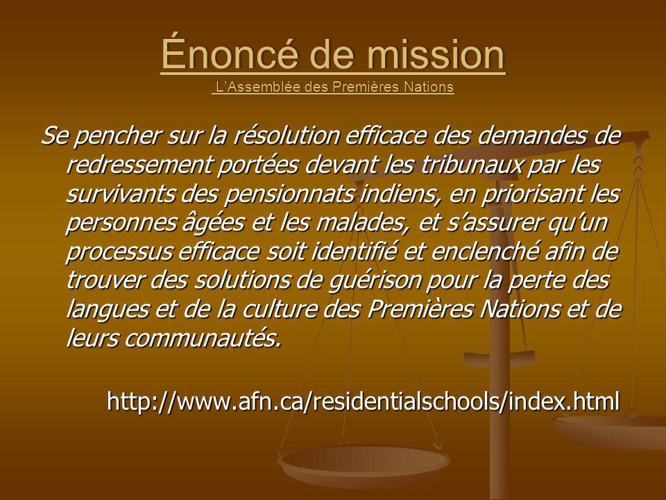 Énoncé de mission L'Assemblée des Premières Nations