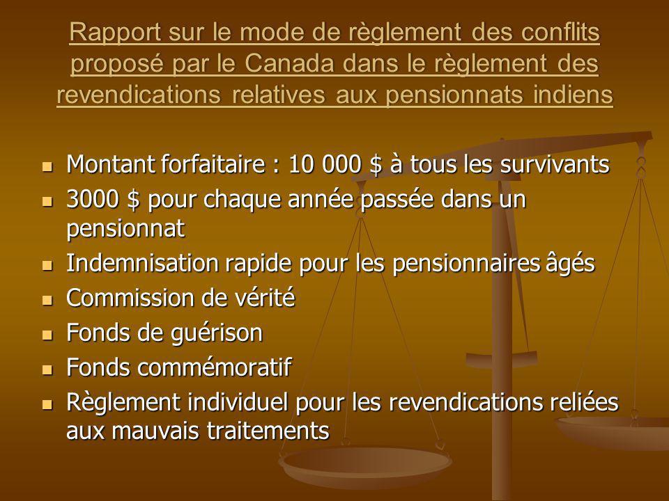 Rapport sur le mode de règlement des conflits proposé par le Canada dans le règlement des revendications relatives aux pensionnats indiens