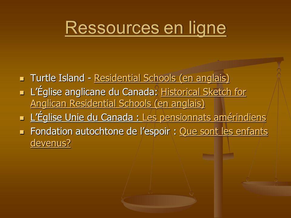 Ressources en ligne Turtle Island - Residential Schools (en anglais)