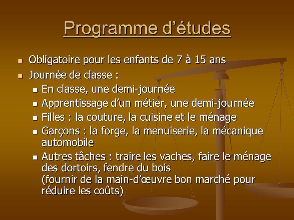 Programme d'études Obligatoire pour les enfants de 7 à 15 ans