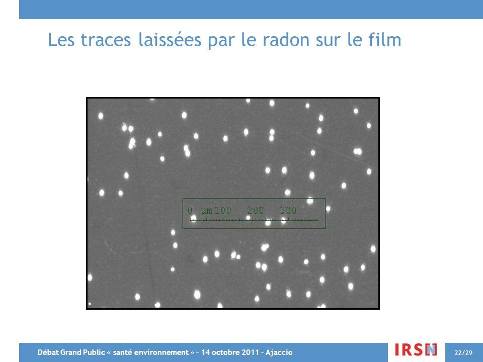 Les traces laissées par le radon sur le film