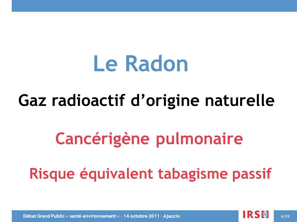 Le Radon Gaz radioactif d'origine naturelle Cancérigène pulmonaire