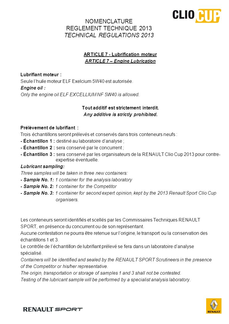 NOMENCLATURE REGLEMENT TECHNIQUE 2013 TECHNICAL REGULATIONS 2013
