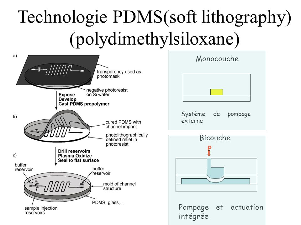 Technologie PDMS(soft lithography) (polydimethylsiloxane)