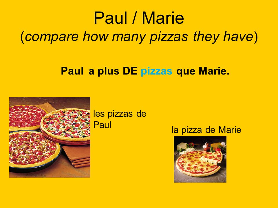 Paul / Marie (compare how many pizzas they have)
