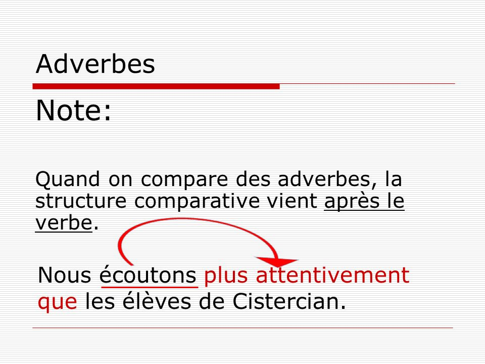 Adverbes Note: Quand on compare des adverbes, la structure comparative vient après le verbe.