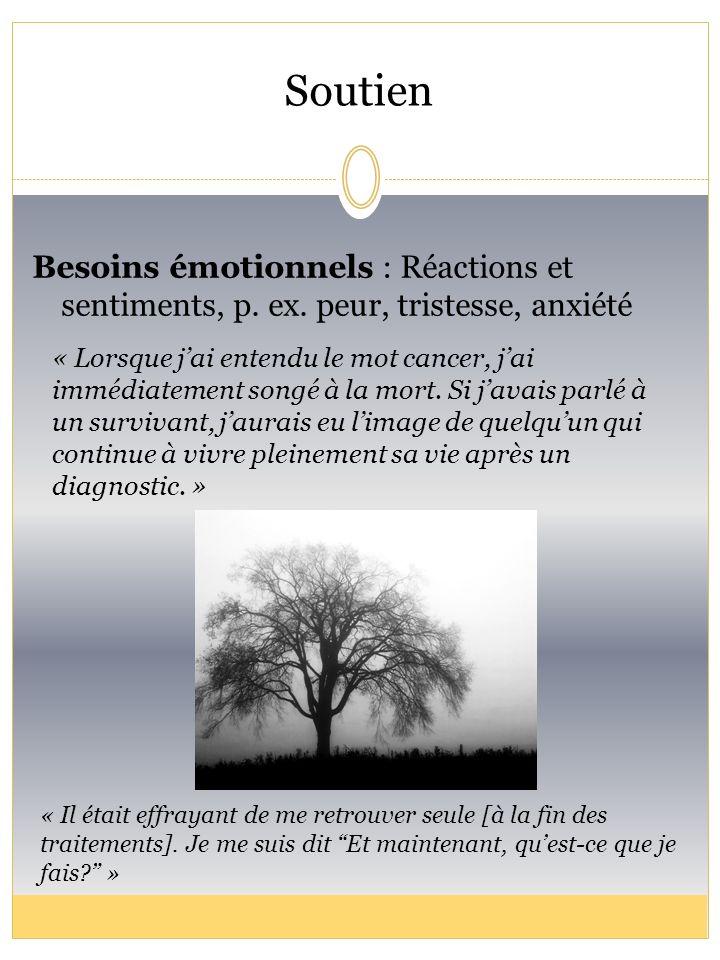 Soutien Besoins émotionnels : Réactions et sentiments, p. ex. peur, tristesse, anxiété.