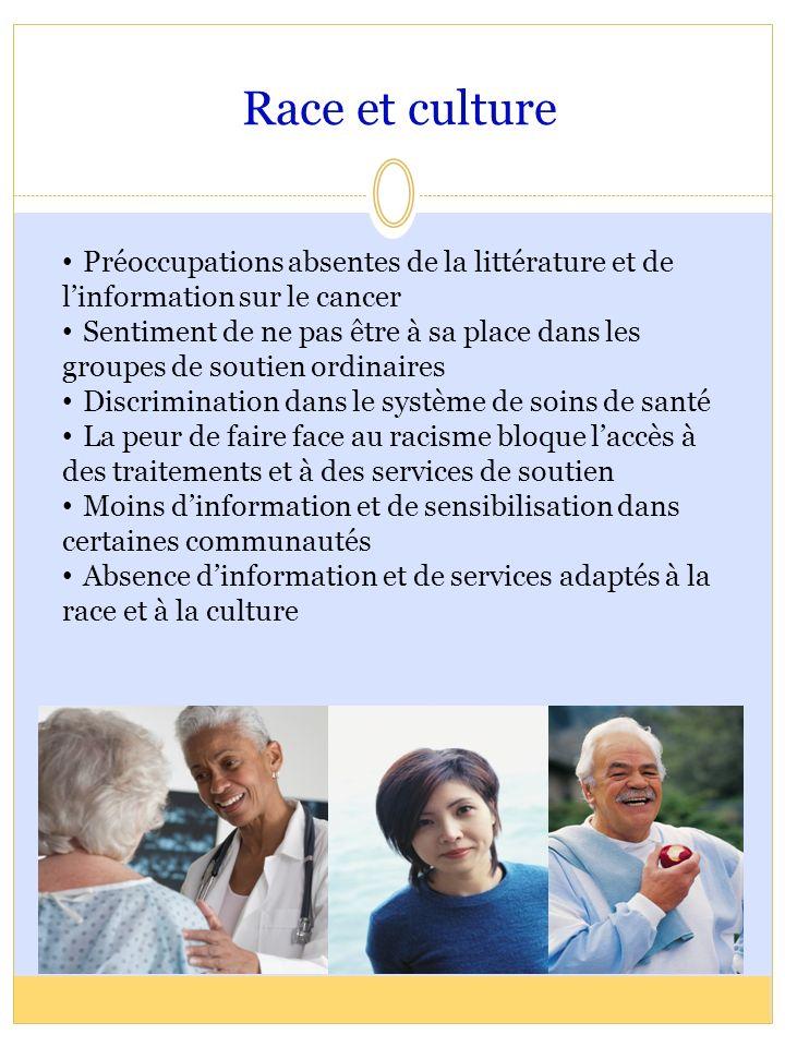 Race et culture Préoccupations absentes de la littérature et de l'information sur le cancer.