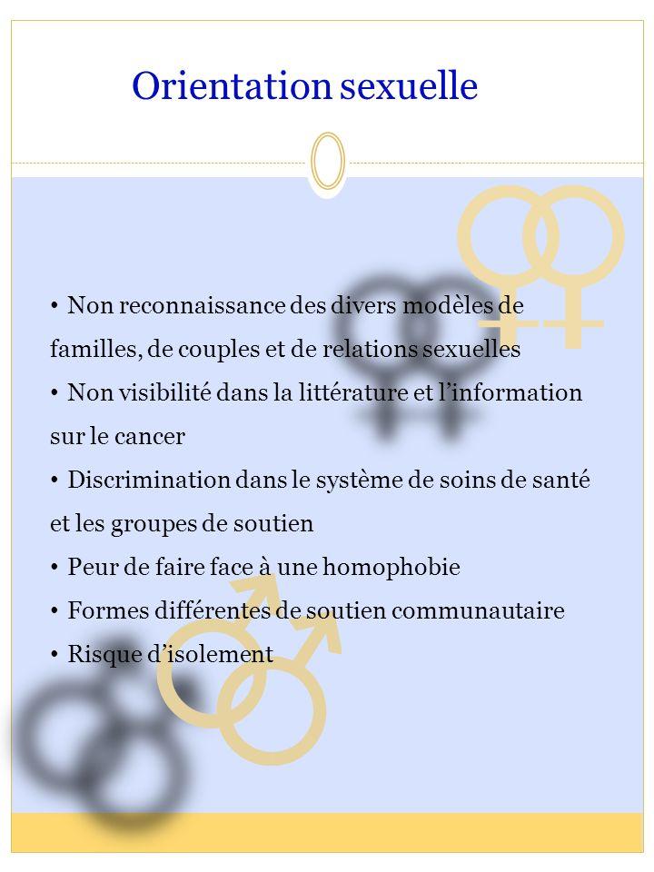 Orientation sexuelle Non reconnaissance des divers modèles de familles, de couples et de relations sexuelles.