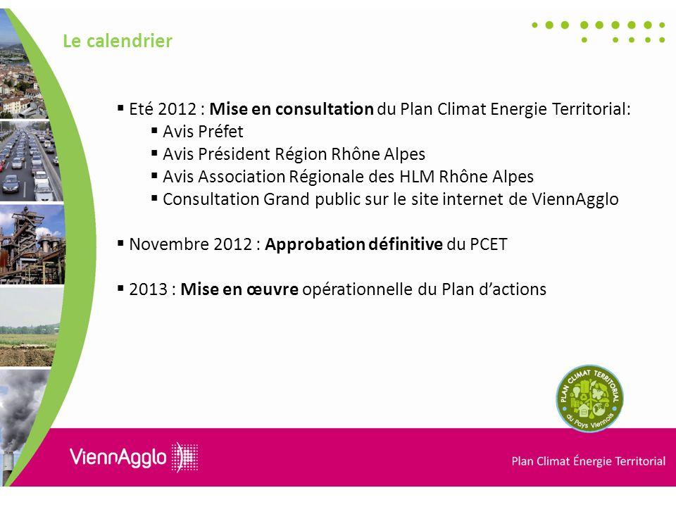 Le calendrier Eté 2012 : Mise en consultation du Plan Climat Energie Territorial: Avis Préfet. Avis Président Région Rhône Alpes.
