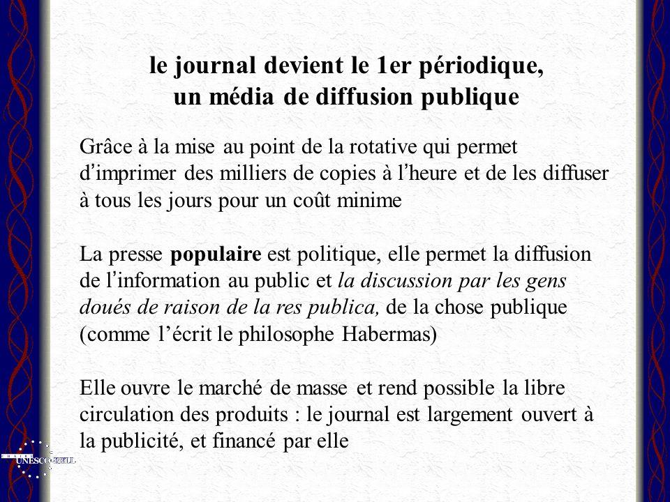 le journal devient le 1er périodique, un média de diffusion publique