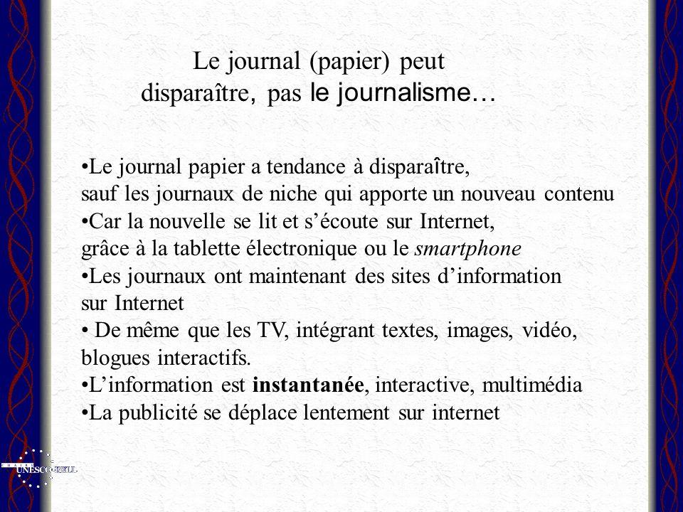 Le journal (papier) peut disparaître, pas le journalisme…