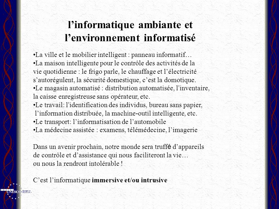 l'informatique ambiante et l'environnement informatisé