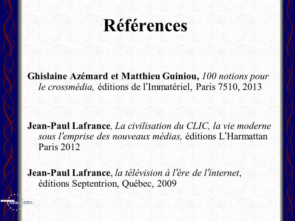 Références Ghislaine Azémard et Matthieu Guiniou, 100 notions pour le crossmédia, éditions de l'Immatériel, Paris 7510, 2013.