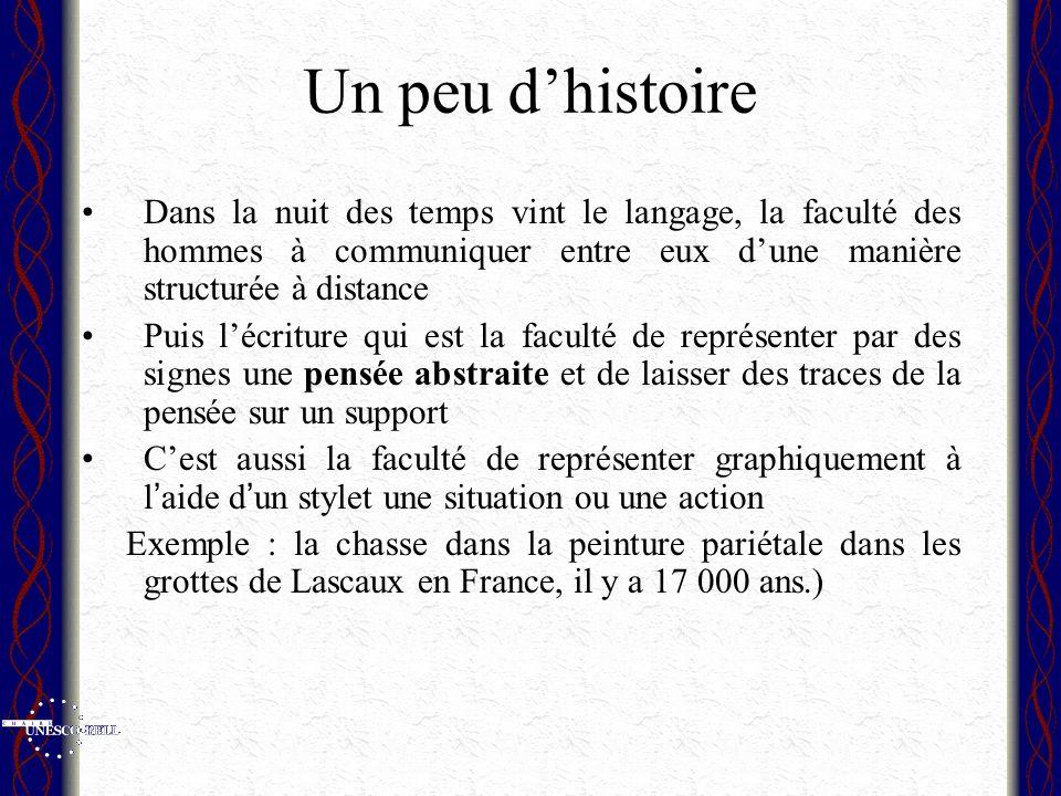 Un peu d'histoire Dans la nuit des temps vint le langage, la faculté des hommes à communiquer entre eux d'une manière structurée à distance.