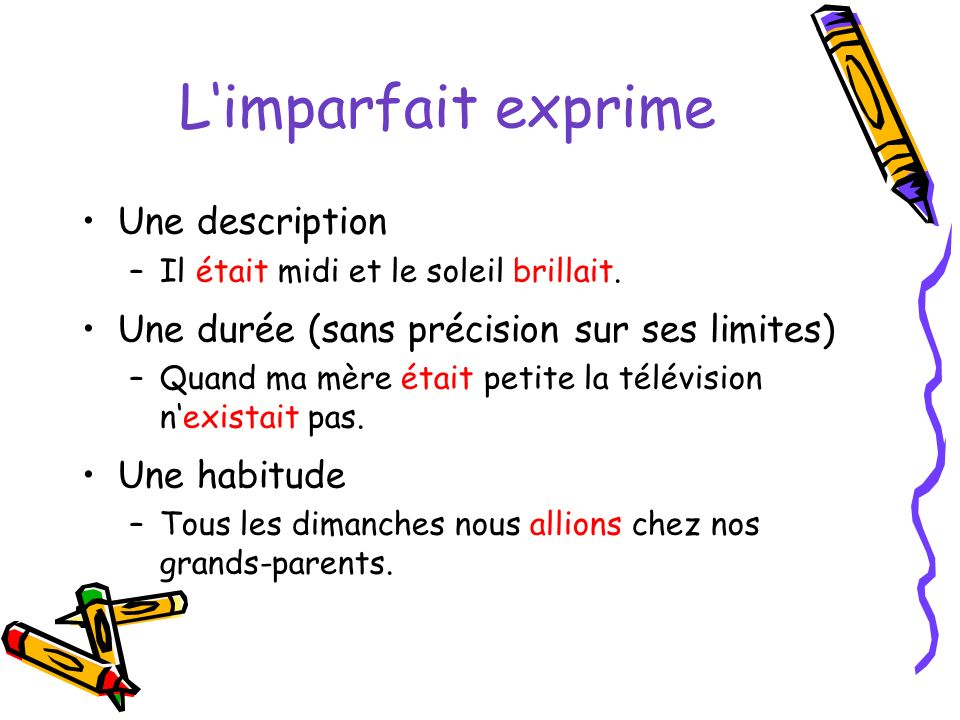 L'imparfait exprime Une description