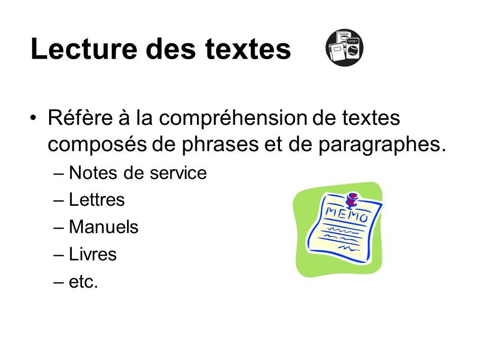Lecture des textesRéfère à la compréhension de textes composés de phrases et de paragraphes. Notes de service.