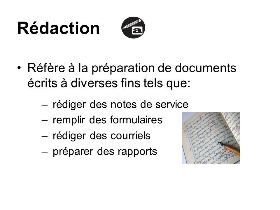Rédaction Réfère à la préparation de documents écrits à diverses fins tels que: rédiger des notes de service.