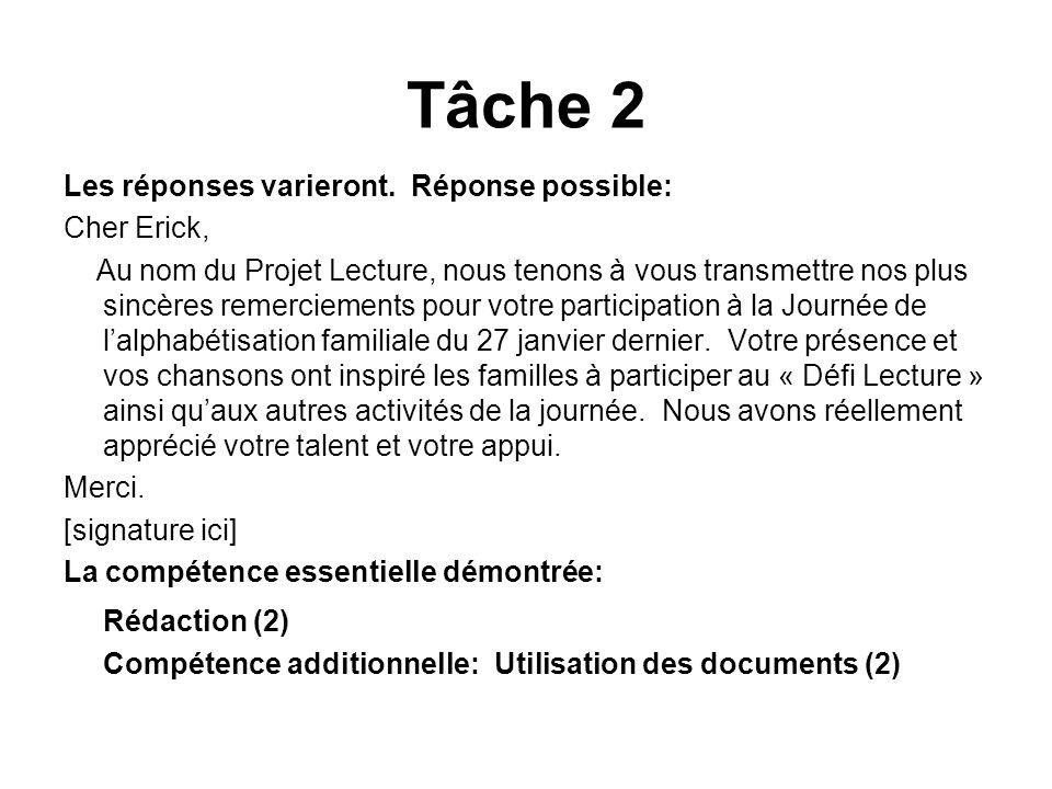 Tâche 2 Rédaction (2) Les réponses varieront. Réponse possible: