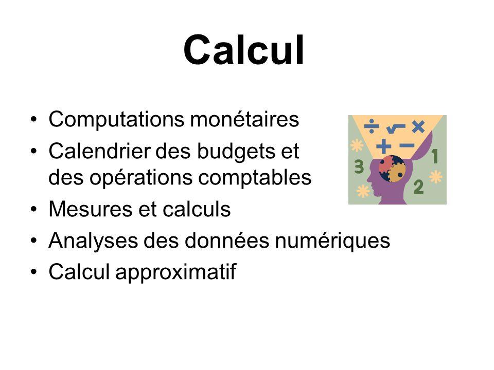 Calcul Computations monétaires