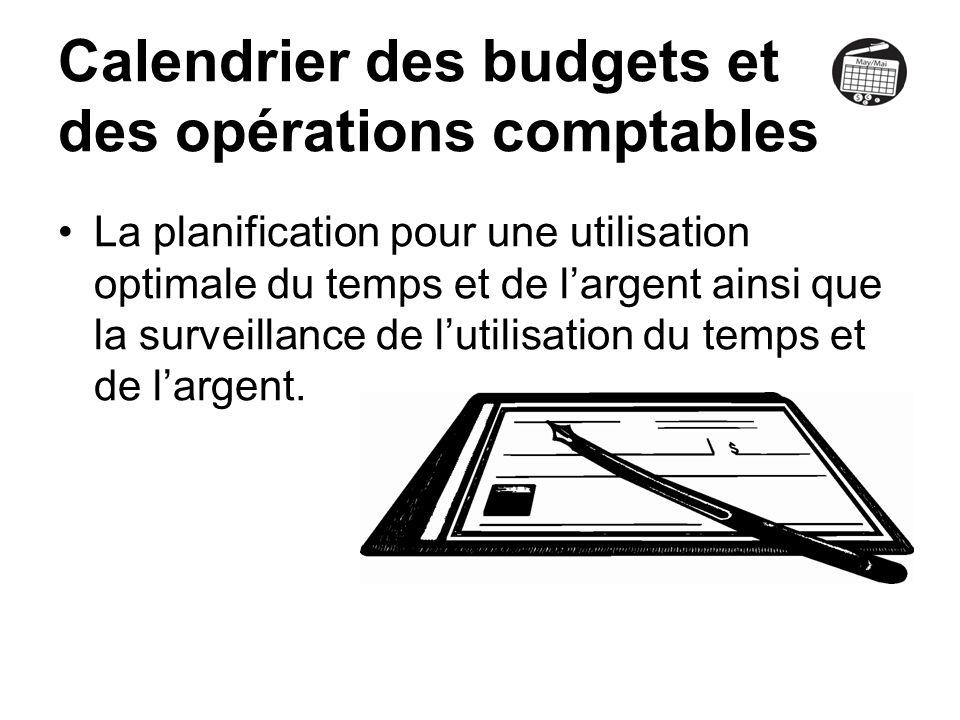 Calendrier des budgets et des opérations comptables